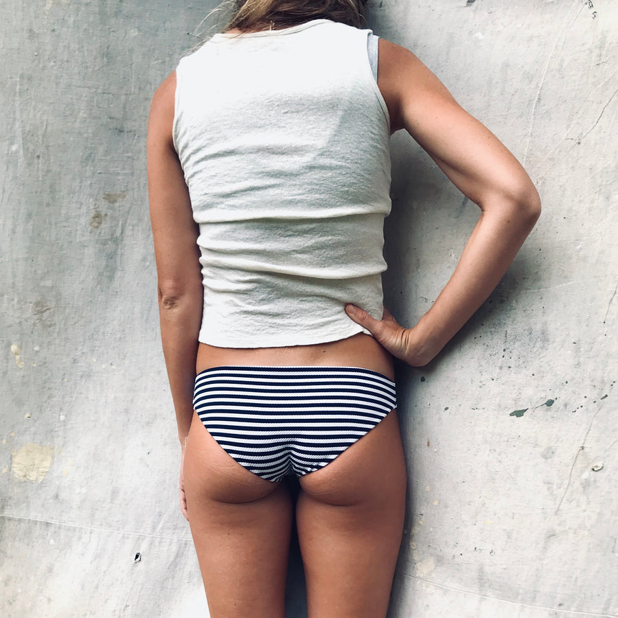 Pacific Full Coverage Bottom - Navy + White Rib