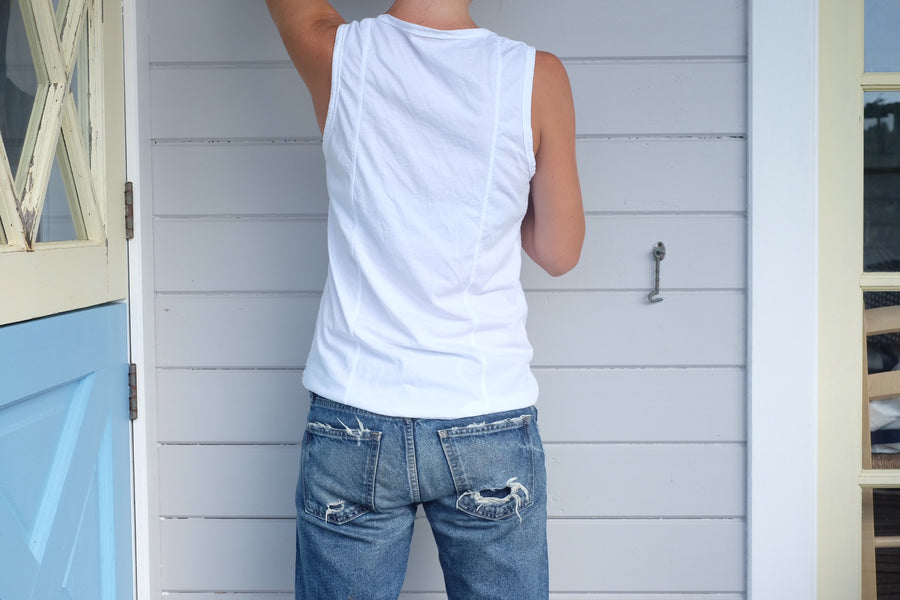 V Neck Tank with Double Back Seam - White