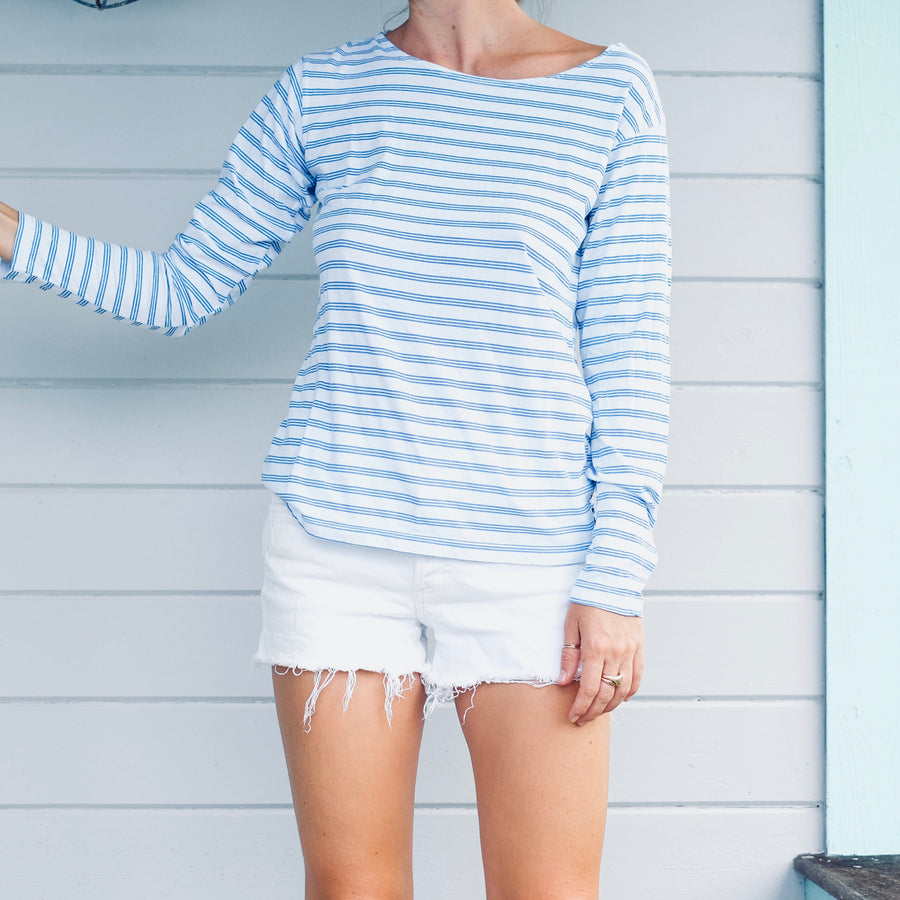 Triple Stripe L/S Tee - White