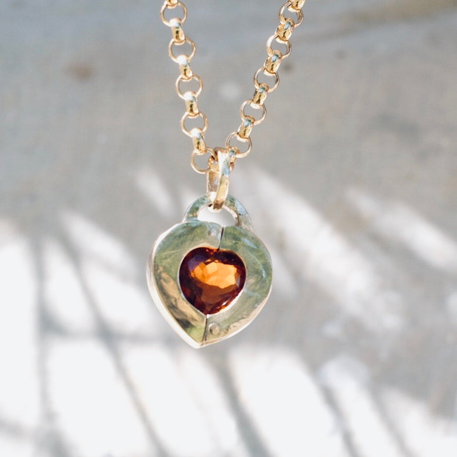 Heart Locket - Citrine