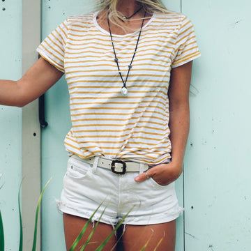 Stripe Scoop Neck Tee - White