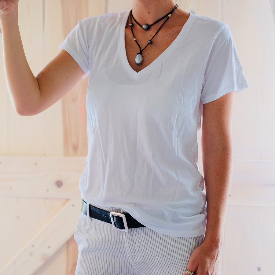 Destroyed Organic Cotton V Neck - White