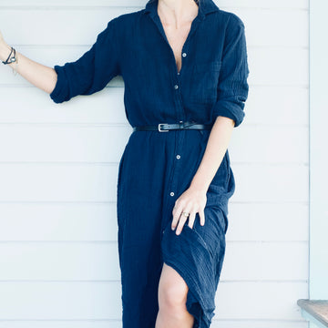The Long Buttondown Dress - Navy