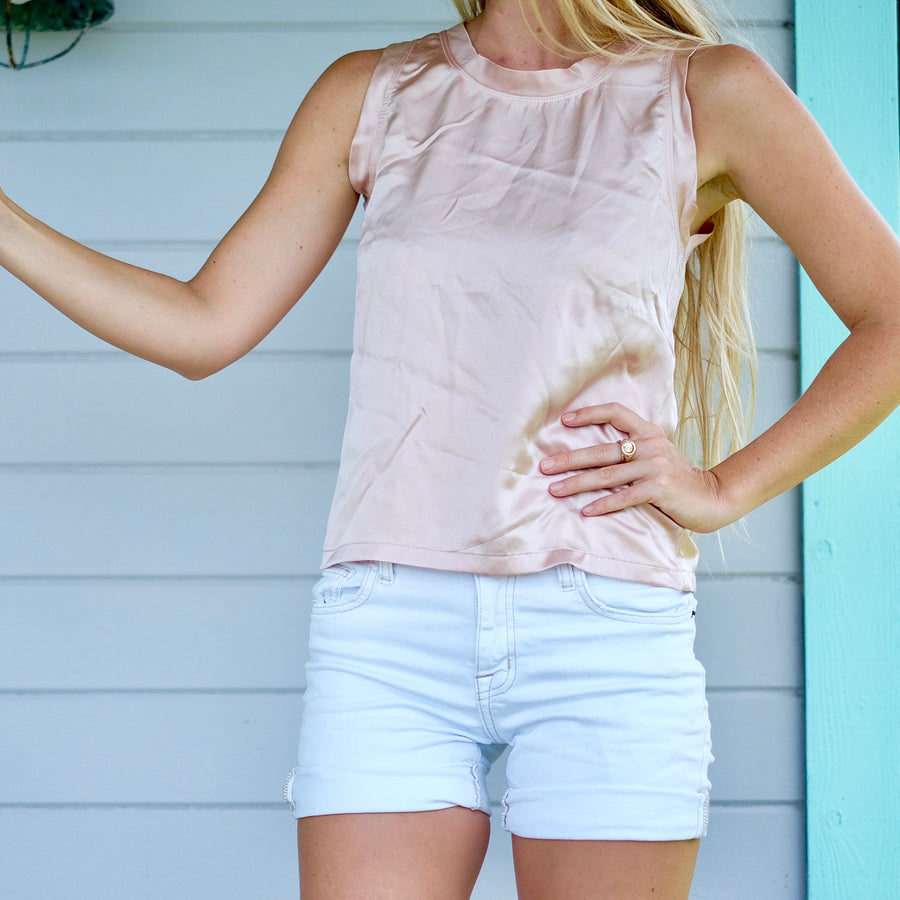 Belle Silk Tank - Rose
