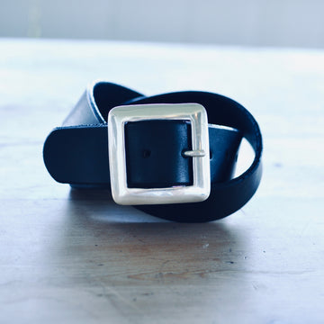 Belt w Square SS Buckle - Black