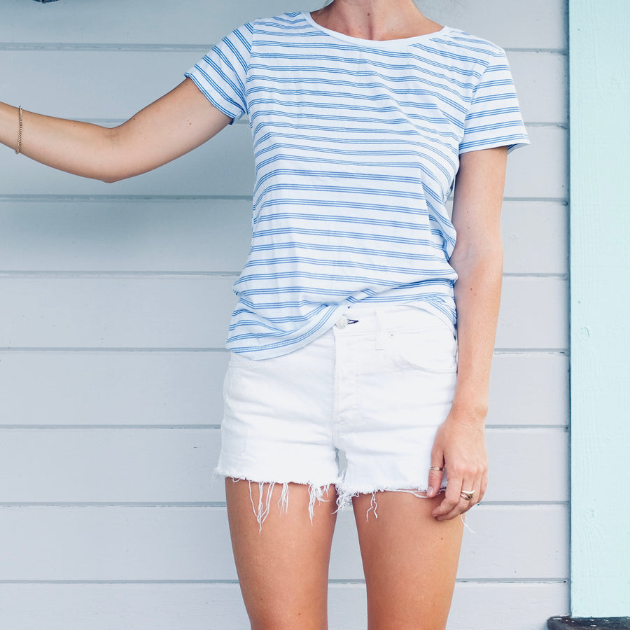 Triple Stripe Scoop Neck Tee - White