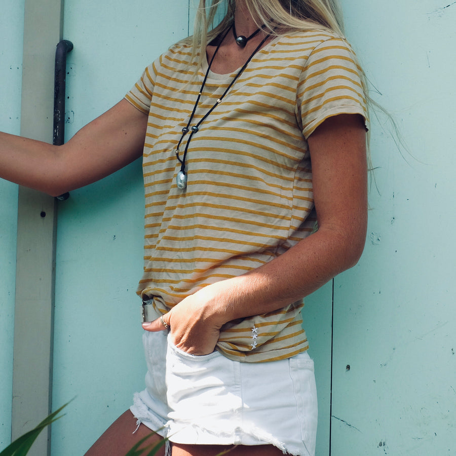 Stripe Scoop Neck Tee - Tan