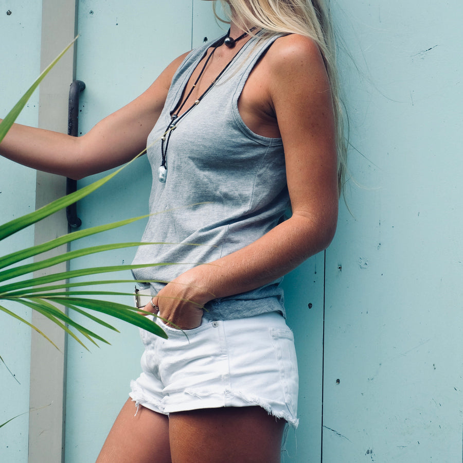 V Neck Tank with Double Back Seam - Heather Grey