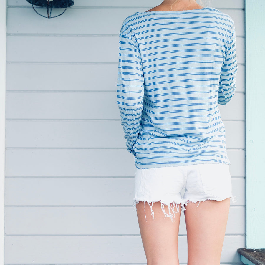 Triple Stripe L/S Tee - Sky