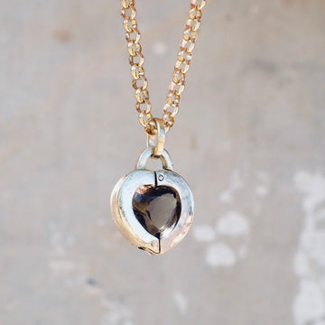 Heart Locket - Smokey Topaz
