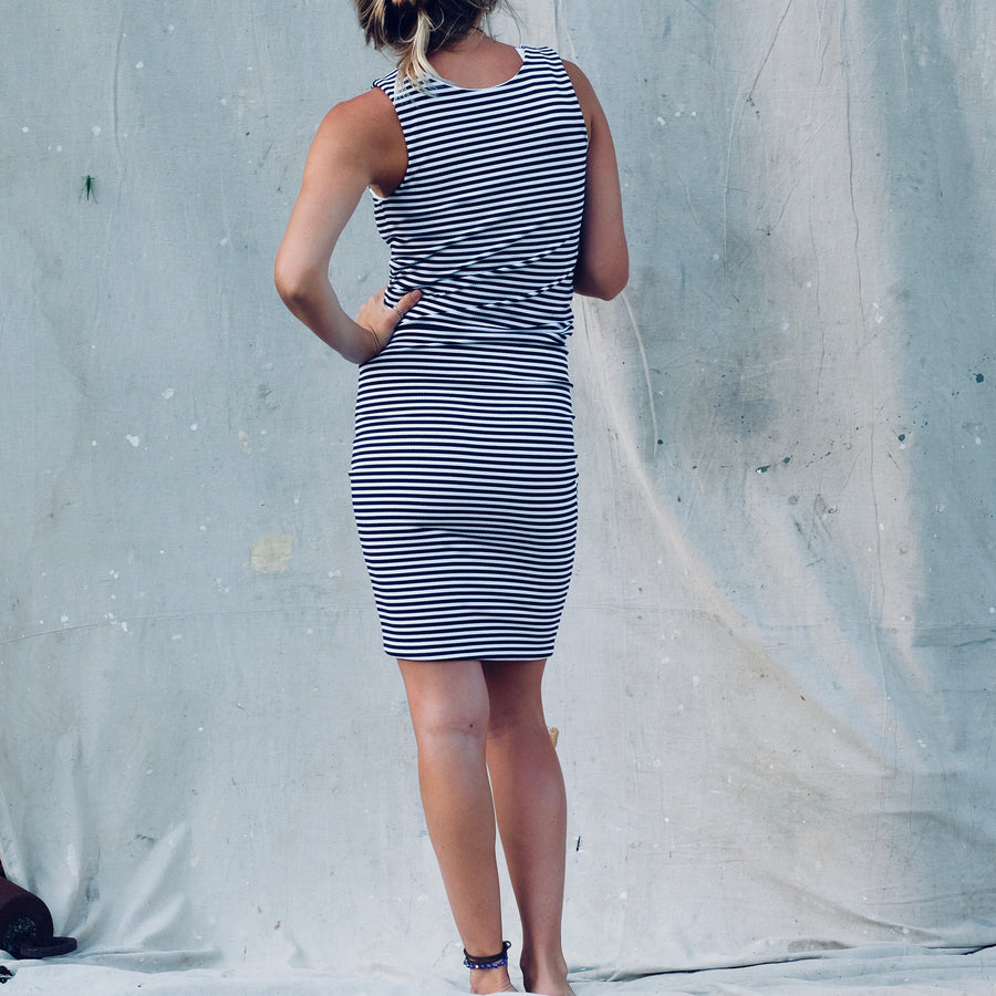 Monserrat Dress - Rib Navy/White Stripes
