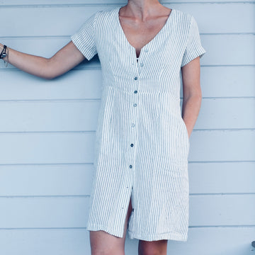 The Milou Dress - White Stripe