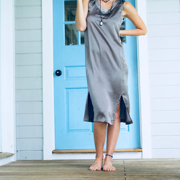 Camaruche Silk Dress w/ Stripe - Concrete/Stone
