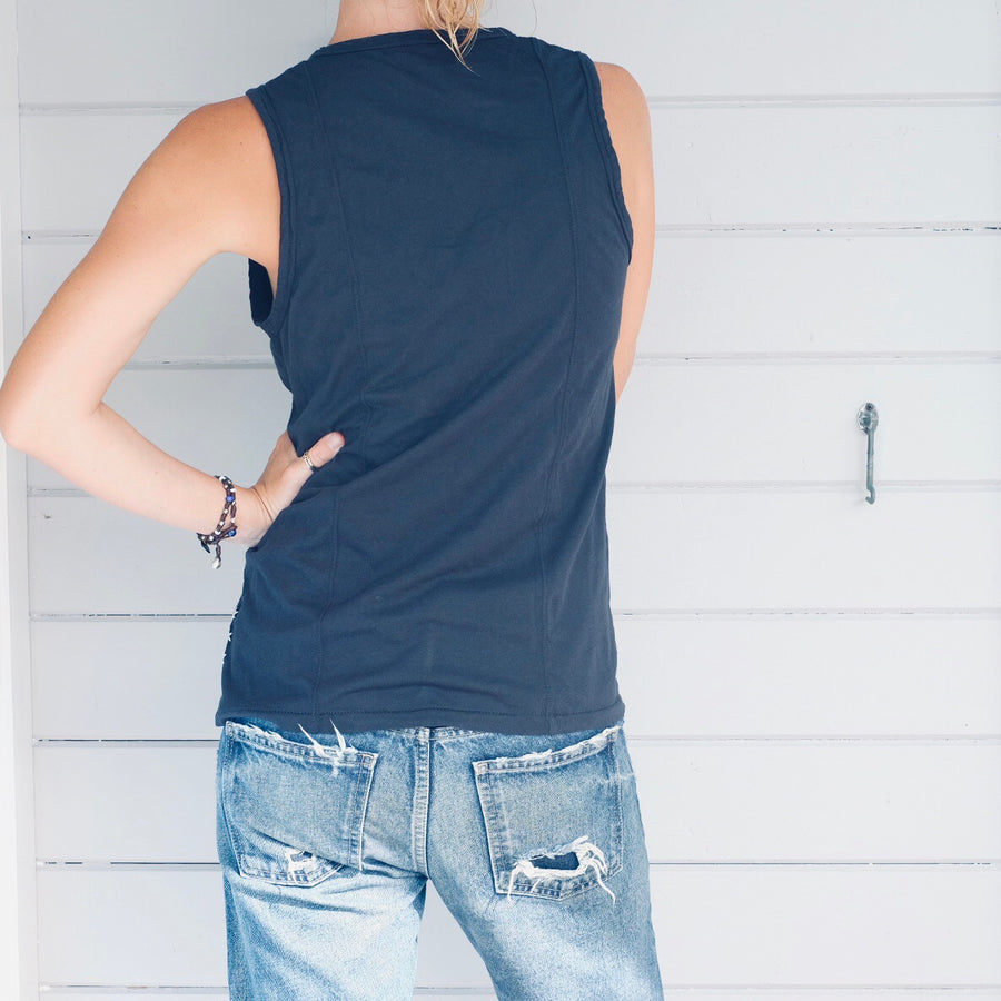 V Neck Tank with Double Back Seam - Vintage Black