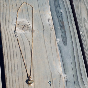 Gold Faceted Heart on Chain