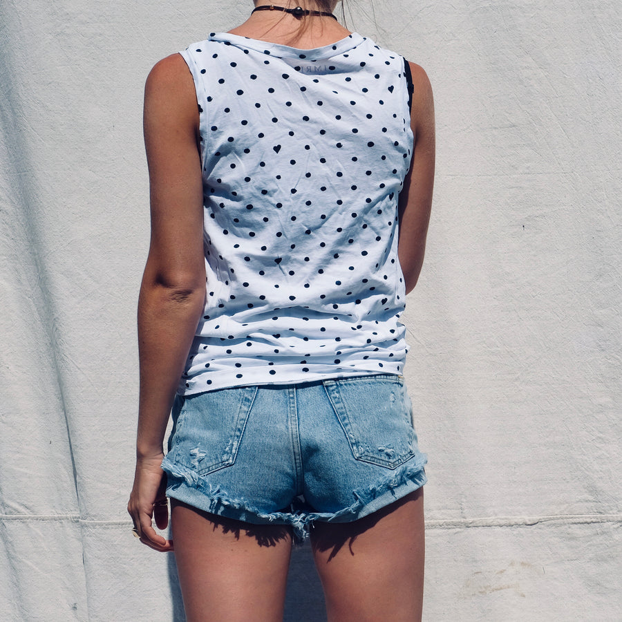 Dot Heart Muscle Tank - White