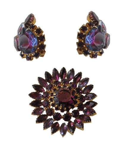 1960's Purple Rhinestone pin and earring set