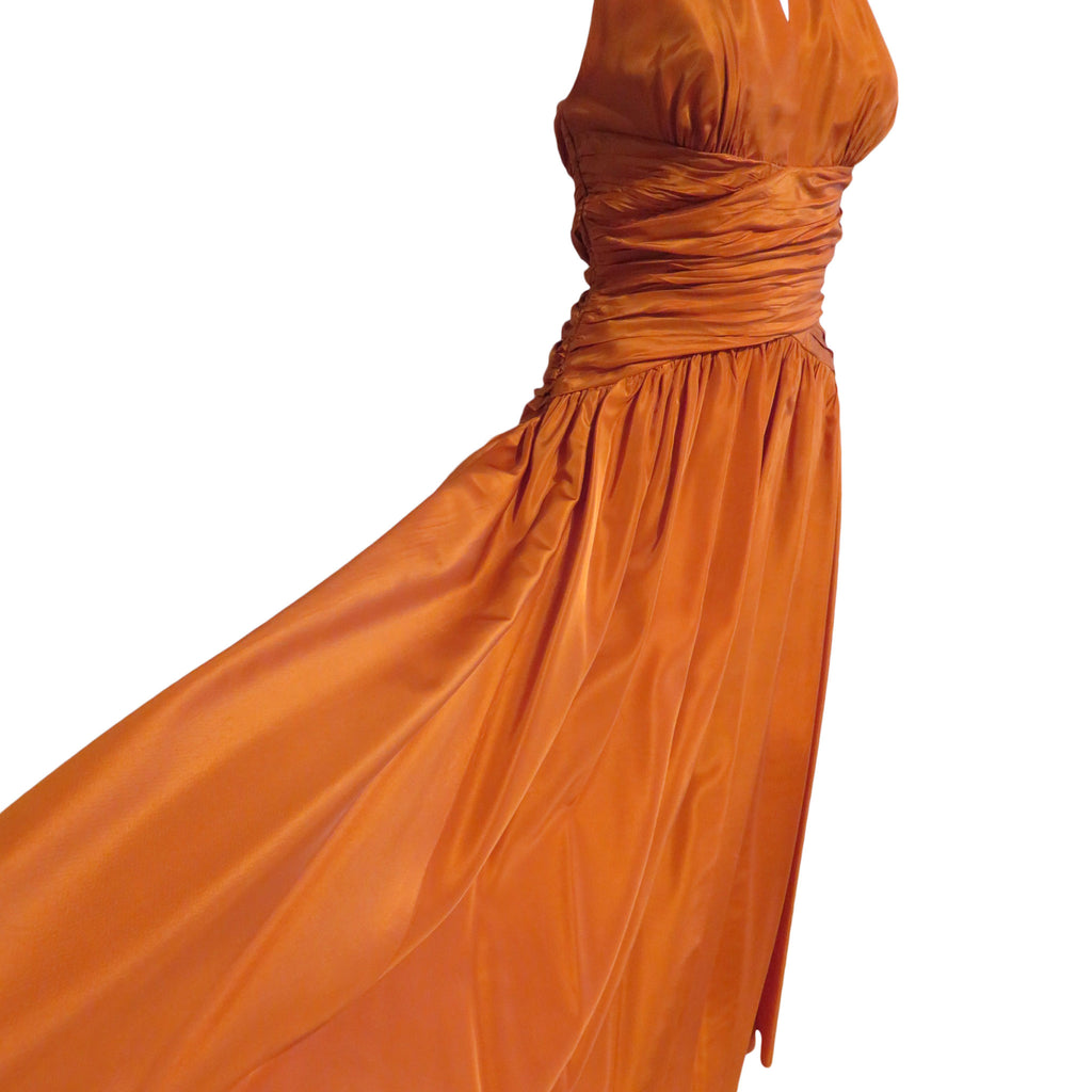 Vintage 1940 pumpkin color gown