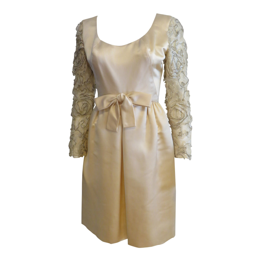 Vintage 1960 cream satin wedding cocktail dress