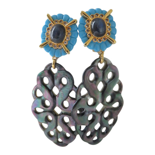 Laboradite Turquoise earrings