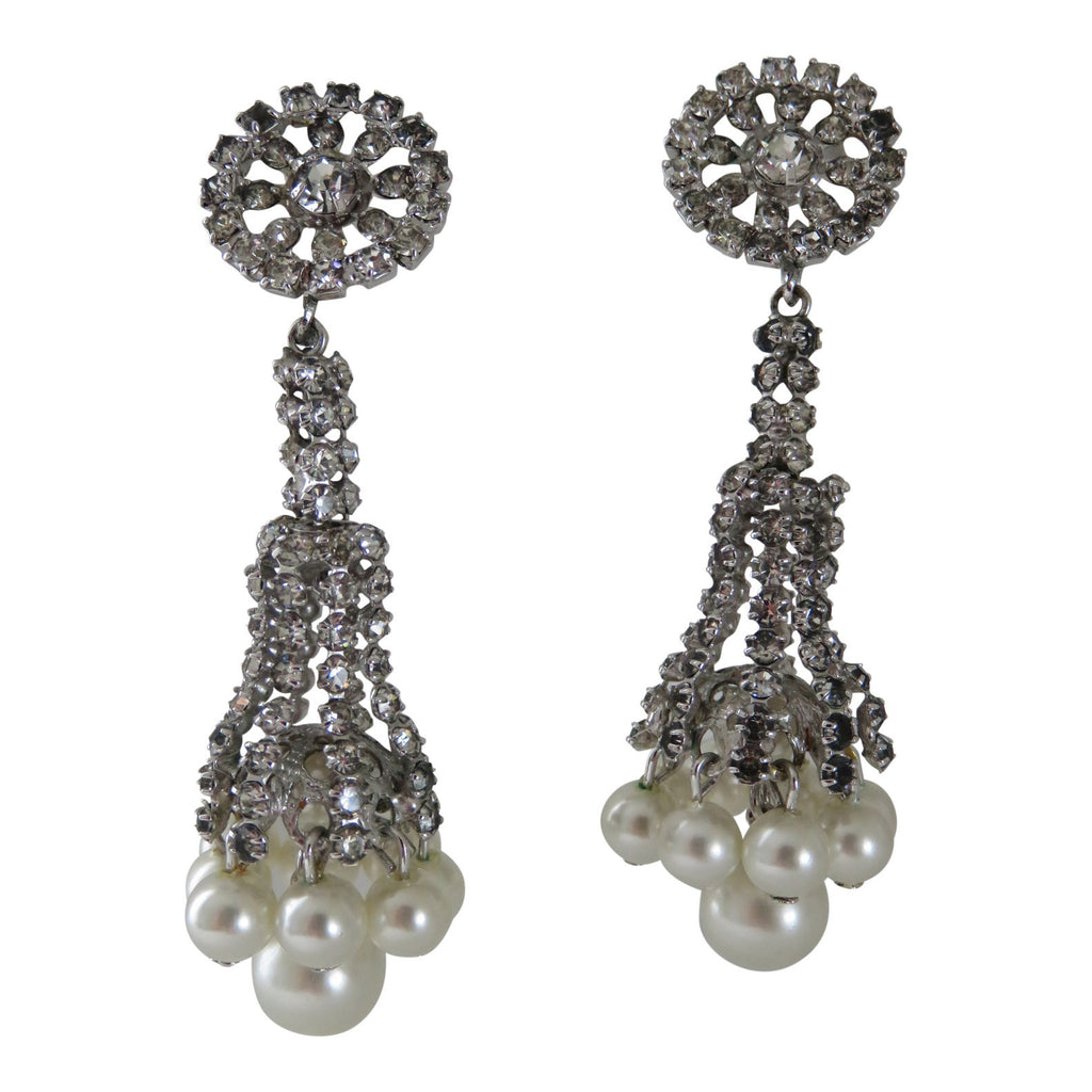 Pearl and Rhinestone Earrings