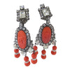 Moans couture carved rhinestone statement earrings