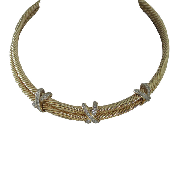 1980 gold rhinestone choker collar necklace