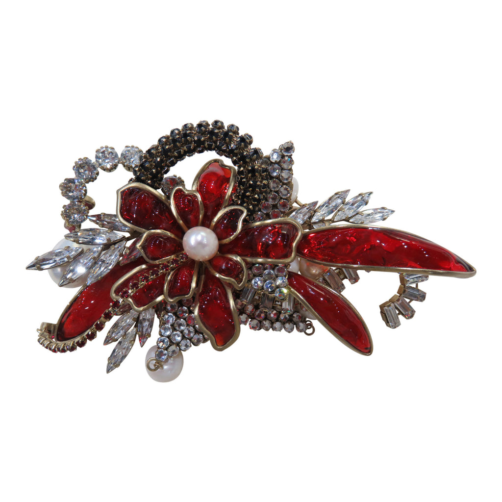 Red poured glass Gripoix Brooch