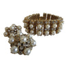 Vintage 1960 rhinestone pearl bracelet matching earrings set