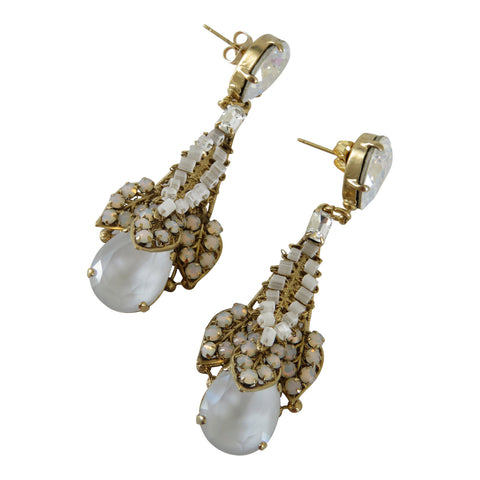 Opaline and crystal earrings