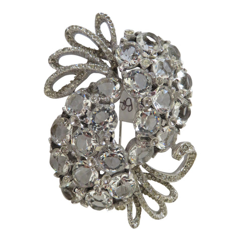 1950 Open back crystal brooch