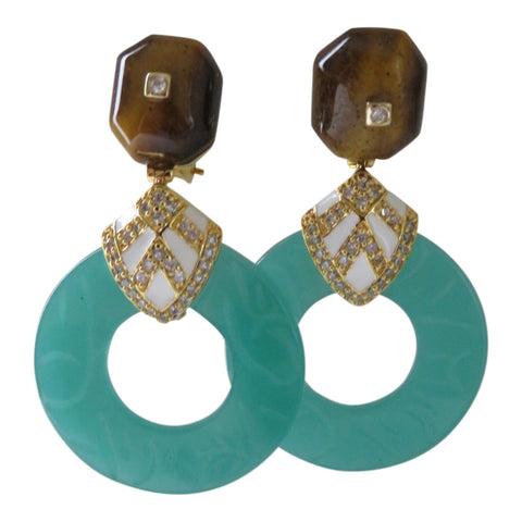 Tiger eye jade hoops