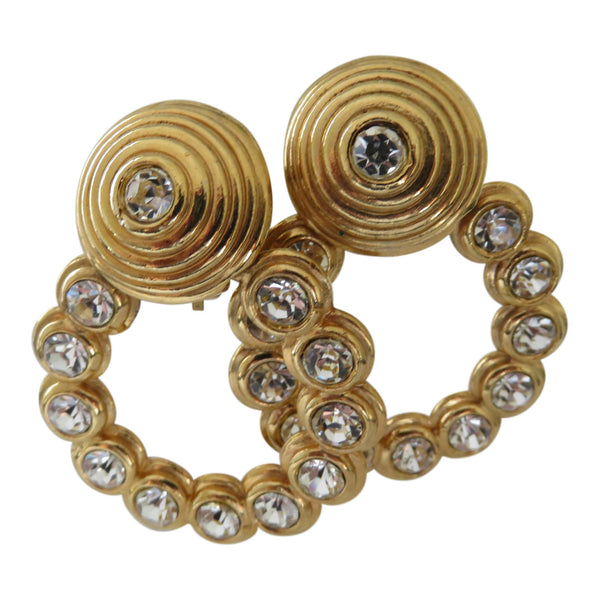 Vintage rhinestone 1980's hoop earrings