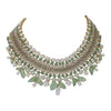 statement green wide bib necklace earring set
