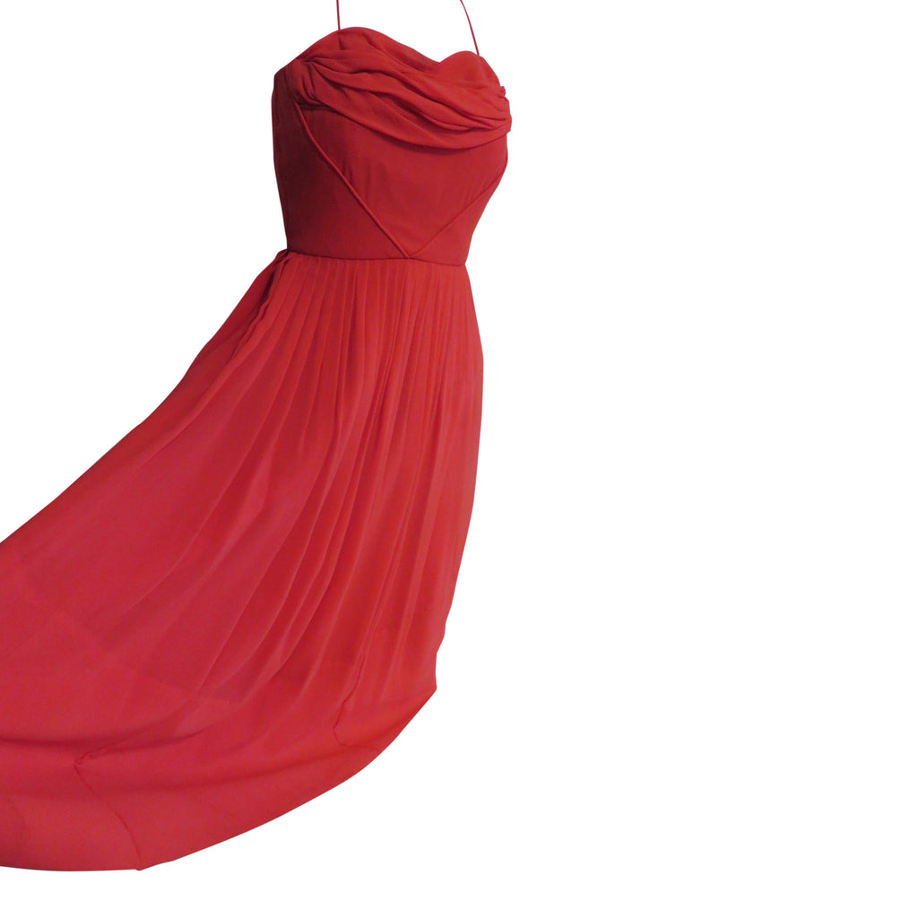 1950 Red poly silk party dress