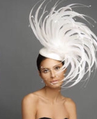 Dramatic White Feather Fascinator