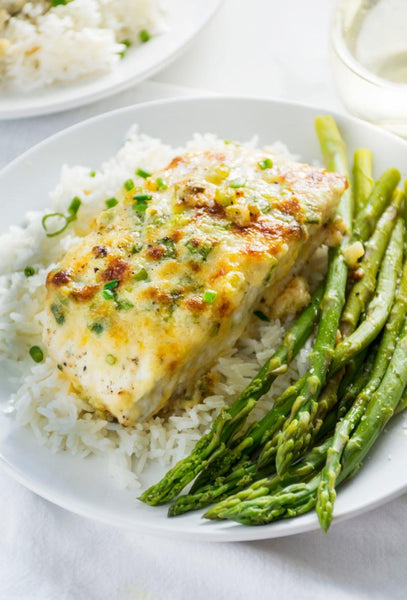 Parmesan and Artichoke Baked Halibut