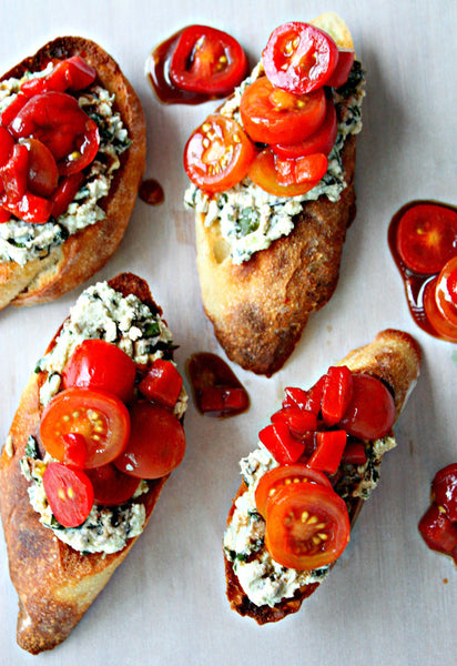 Roasted Red Pepper & Tomato Crostini with Ricotta Basil Pesto