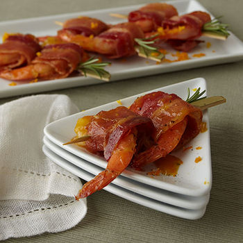 Garlic Rosemary Citrus Bacon Wrapped Shrimp