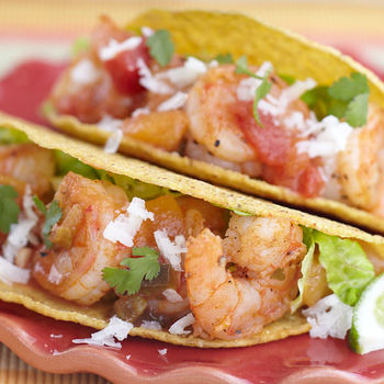 Peach Salsa Shrimp Tacos