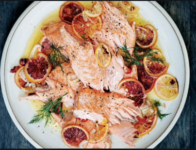 Slow Roasted Salmon with Meyer Lemon & Dill
