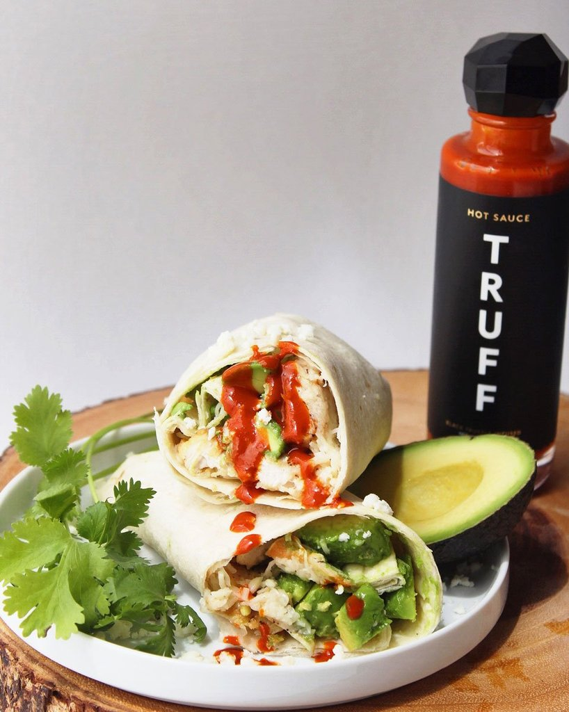 Avocado Chicken Burrito with Truffle Sauce