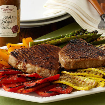 Grilled Tuna with Red Peppers