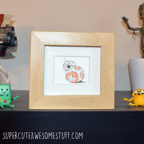 Miniature Watercolour BB-8 Droid