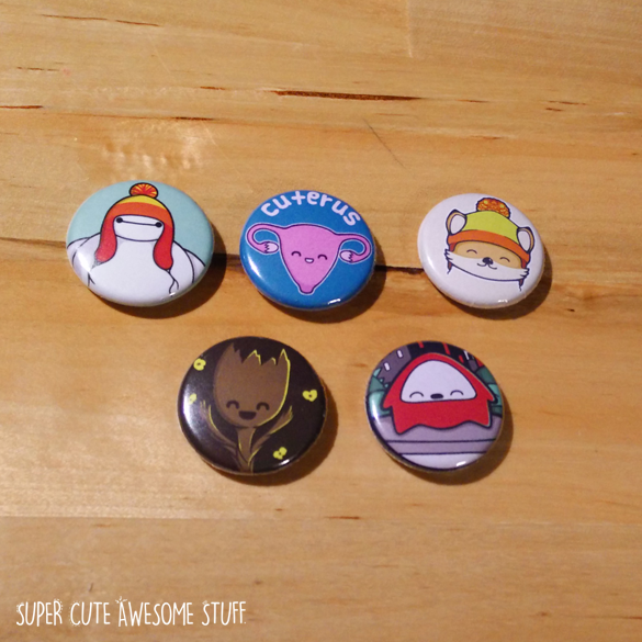 Cute Geeky Buttons - Set of 5