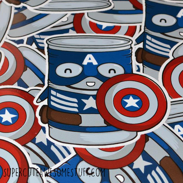 Cap Tin America Die-Cut Vinyl Sticker