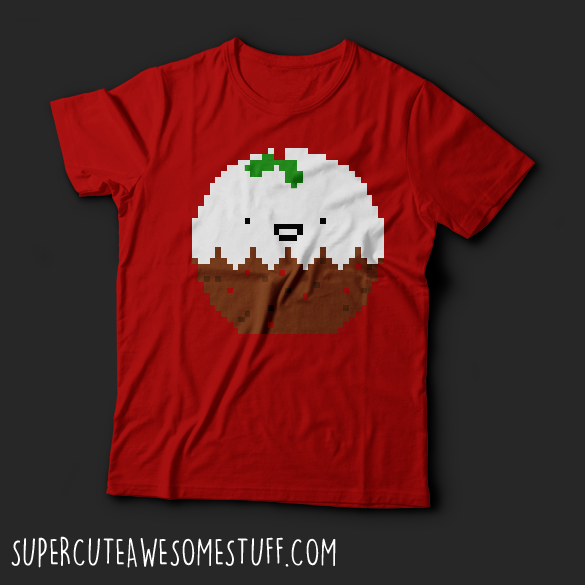 Cute Christmas Pixel Pudding T-Shirt