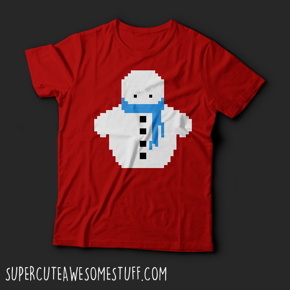 Cute Christmas Pixel Snowman T-Shirt