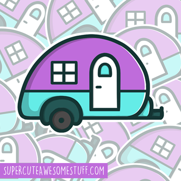 Cute Teardrop Caravan Sticker - 3 inch Die Cut Sticker