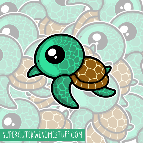 Cute Turtle Die-Cut Vinyl Sticker
